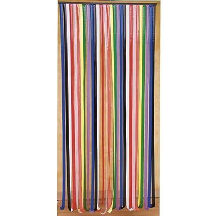Plastic Door Strips >> Door Curtain Plastic Multi Coloured Strips Amazon Co Uk Kitchen Home