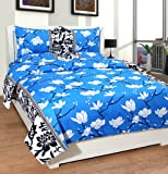 Warmland 3D Print 120 TC Polycotton Double Bedsheet with 2 Pillow Covers - Multicolour
