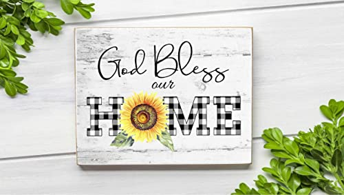 large bow God Bless our Home wood sign attachment Everyday wreath
