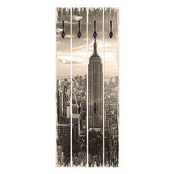 Bilderwelten Perchero de Madera - Manhattan Skyline ...