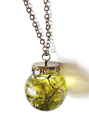 Real Moss Resin Terrarium Globe Necklace - Nature Necklace Pagan Forest Woodland Viking