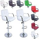 TRESKO® Lot de 2 Tabourets de bar Chaise de bar Chaise lounge avec dossier et accoudoir, 8 couleurs différentes, chromé, rotation à 360°, hauteur réglable de 62,0 à 82,5 cm (Blanc)