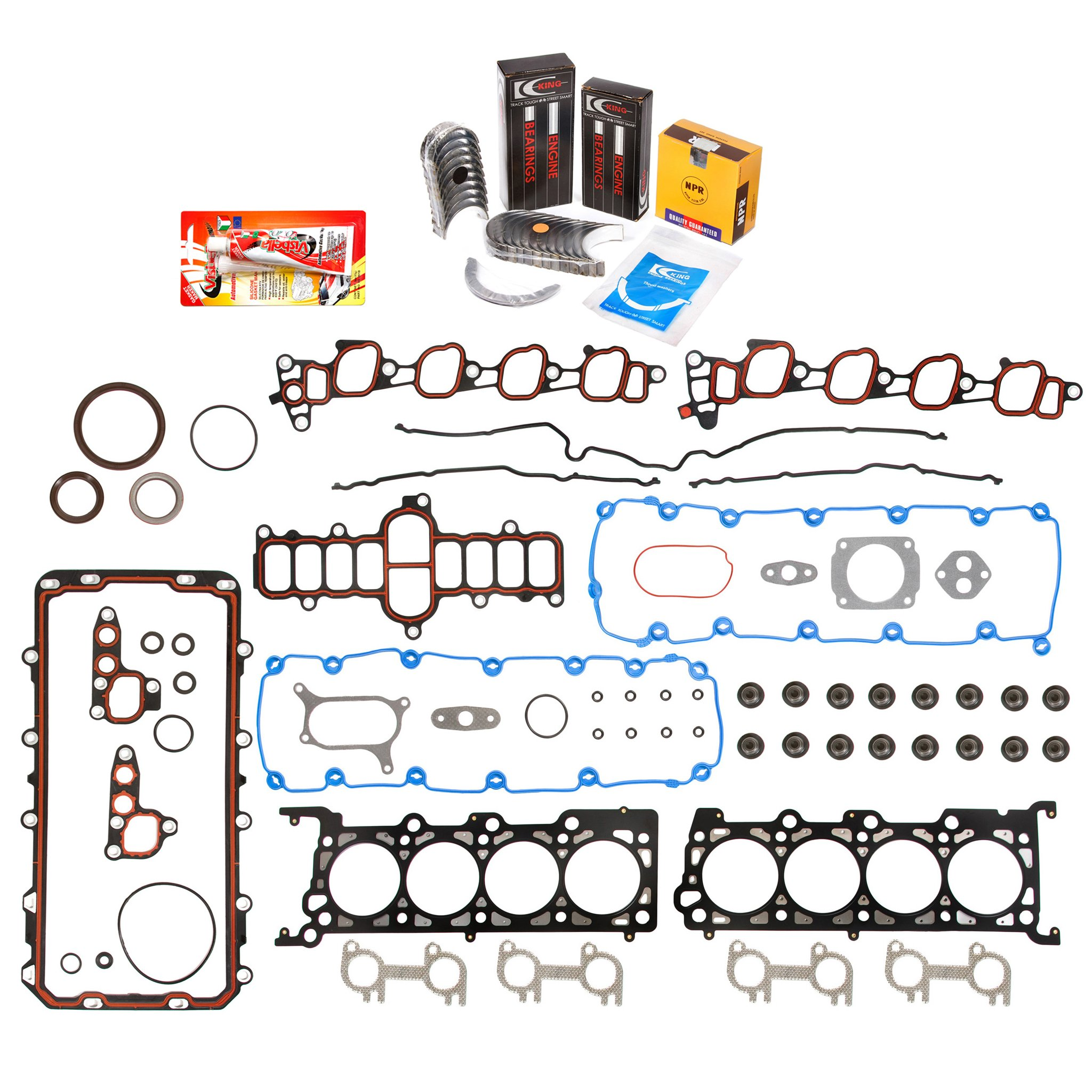 Domestic Gaskets Engine Rering Kit FSBRR8-21115 00-04 Ford E150 E250 F150 Excursion 5.4 SOHC 16V Full Gasket Set, Standard Size Main Rod Bearings, Standard Size Piston Rings by Domestic Gaskets