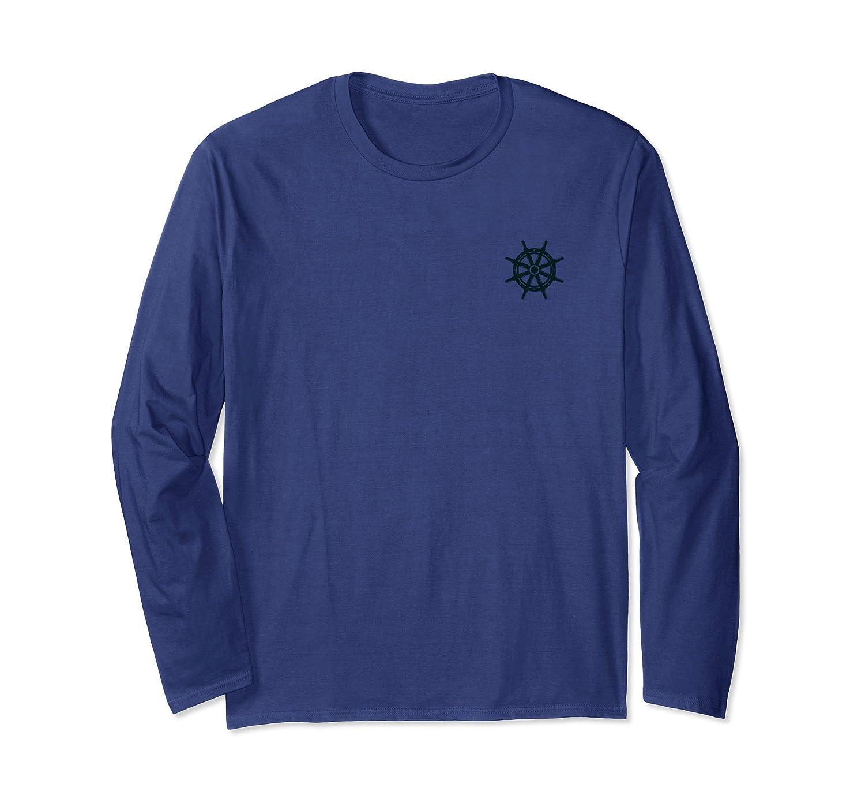 Ship Boat Wheel Nautical Pocket Print Long Sleeve Shirt-anz