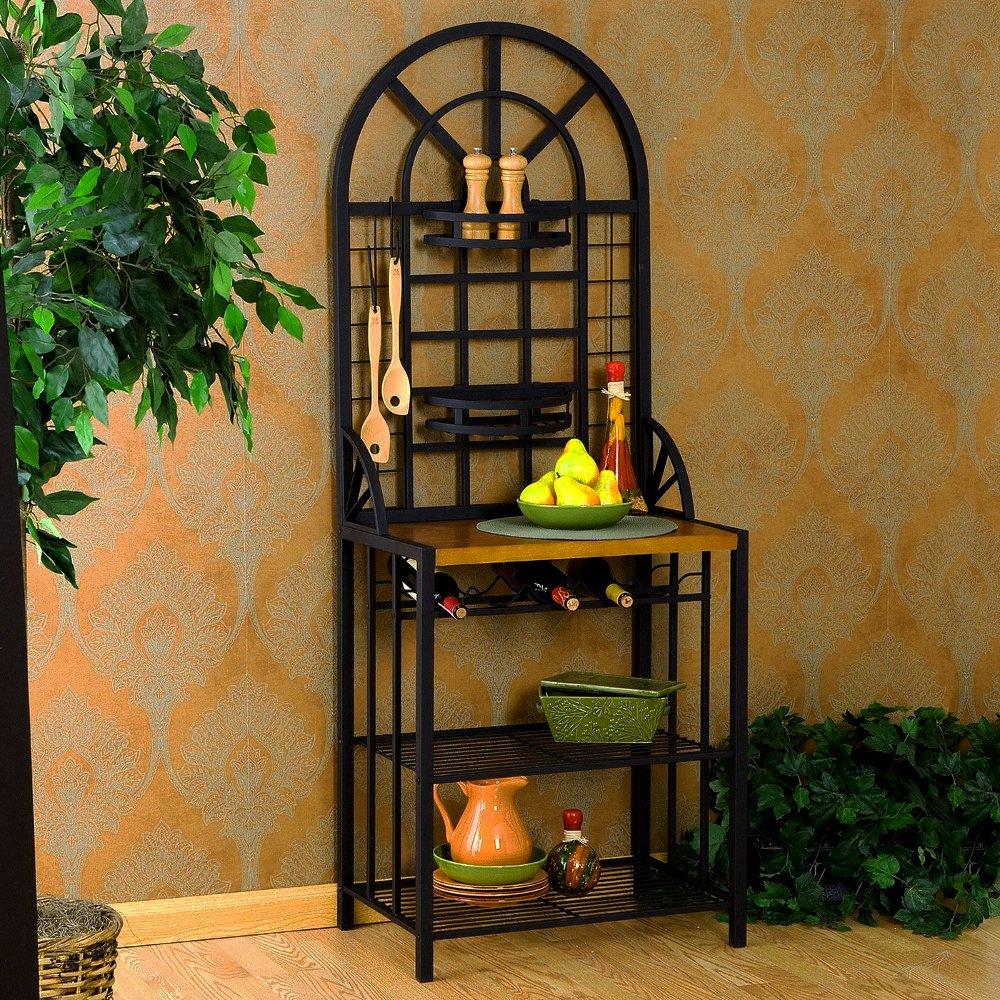 Retro Bakers Rack Curved Wooden Surface Metal Base 4 Shelves Bottle Rack Kitchen Home Rectangular Vertical & eBook by Easy&FunDeals