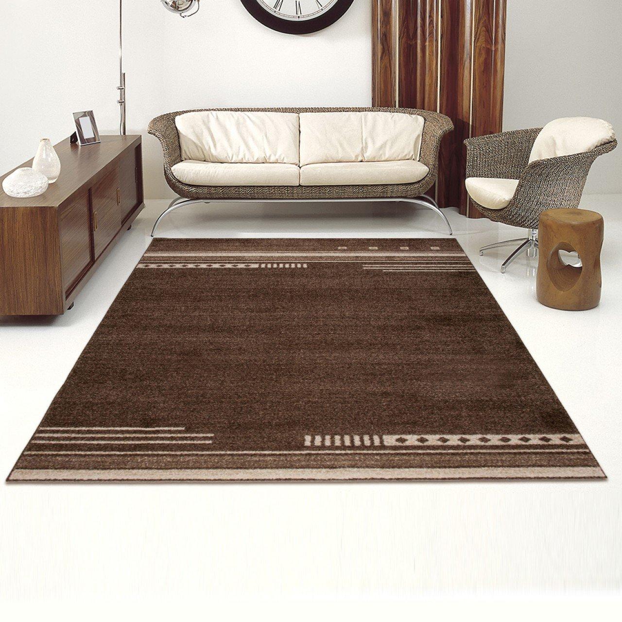 Designer Teppich Modern Wohnzimmer - Muster Meliert mit Streifen in Braun - Kurzflor Teppiche Neu - Prestige Kollektion 140 x 190 cm