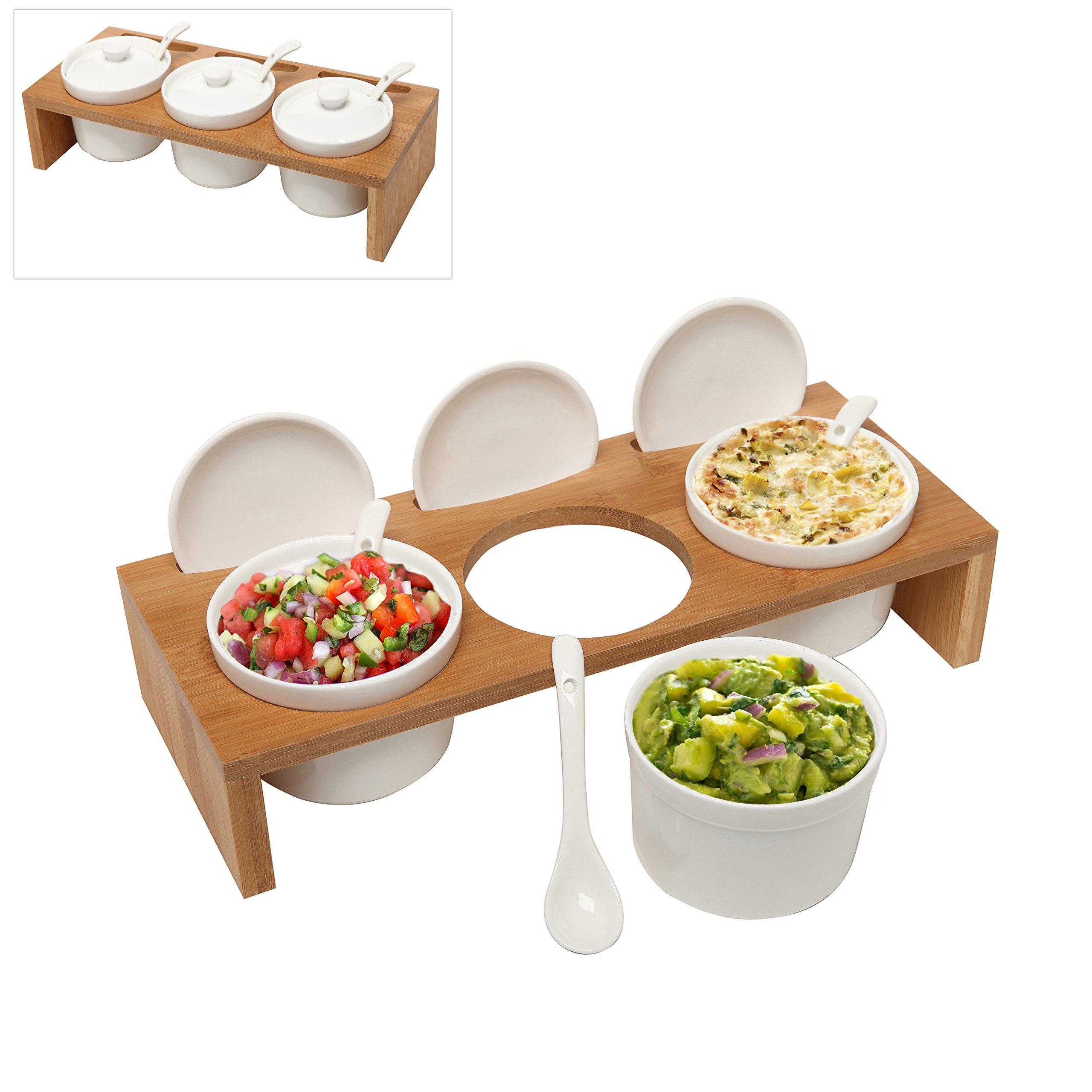 (3 Pcs) 3.5-Inch Ceramic Condiment Dip Sauce Ramekins Set w/ Lids & Spoons on Bamboo Sampler Serving Tray