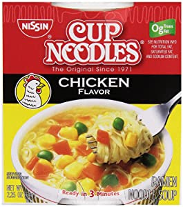 Nissin Cup Noodles Soup, Chicken Flavor, 2.25 Ounce
