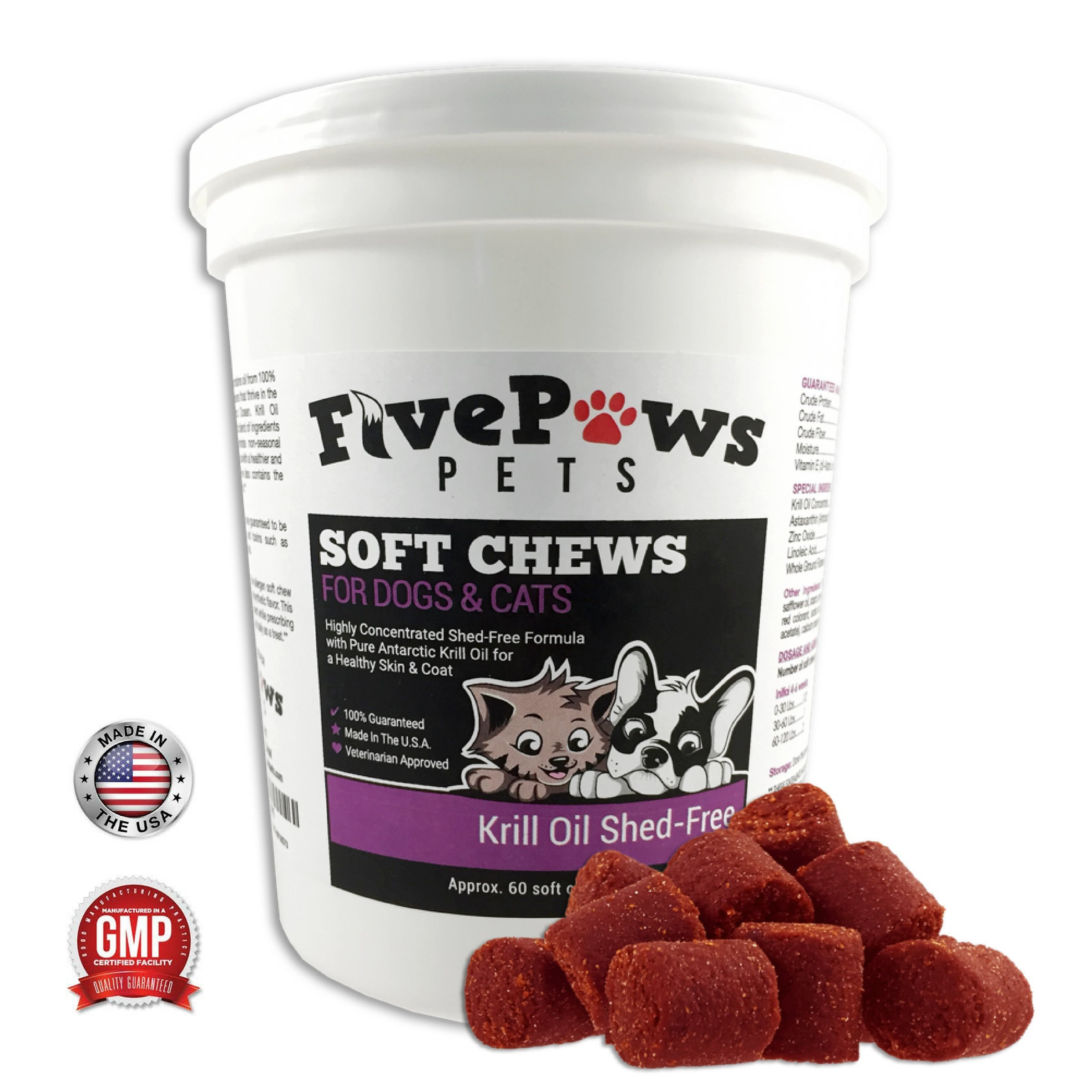 Omega 3 Chews Krill Oil Chews for Dogs - Shed Free Formula Relieves Skin Allergies -Reduces Shedding & Promotes Healthy Skin & Coat Gives Itching Relief -Antioxidant -Fish Oil 60 Soft Chews