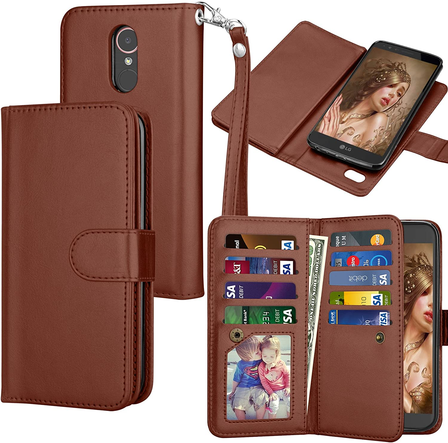 Tekcoo for LG Stylo 3 Wallet Case/LG Stylo 3 Plus/LG Stylus 3 PU Leather Case, Luxury ID Cash Credit Card Slots Holder Carrying Flip Folio Cover [Detachable Magnetic Hard Case] -Brown