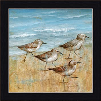 sandpipers i nan ocean beach scene framed print wall art decor picture