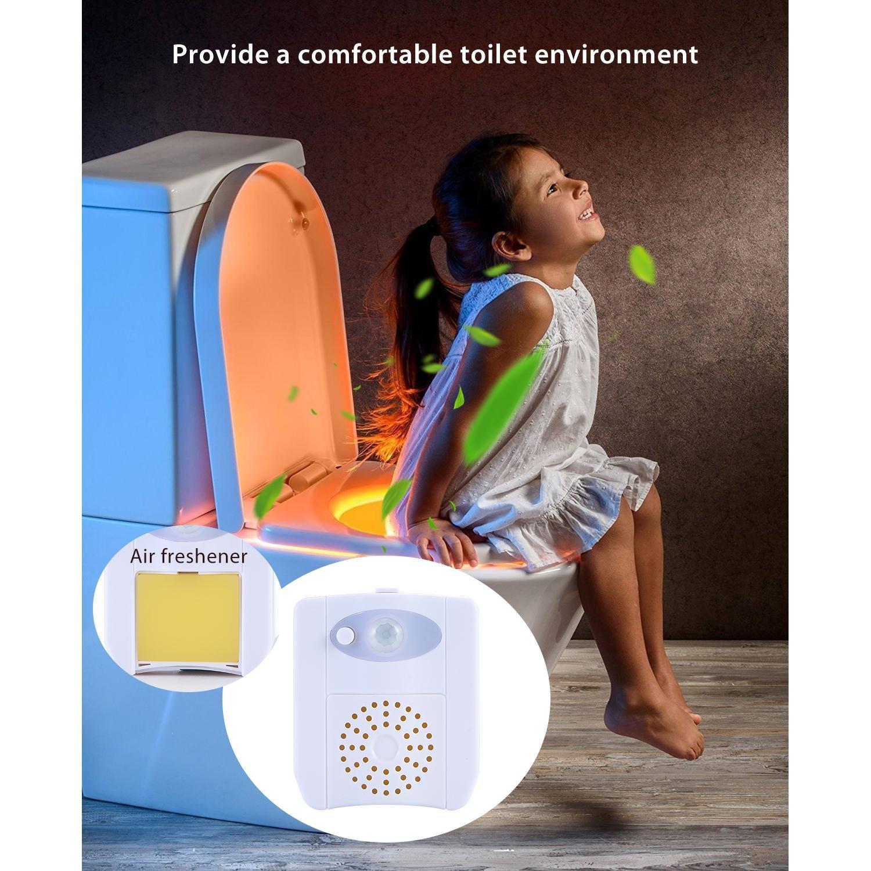 Leegoal UV st/érilisation Abattant WC lumi/ère D/étection de mouvement TM 16/Changement de couleur /à lint/érieur de toilettes Cuvette WC Glow Light pour pot train WC Veilleuse Lot de 2