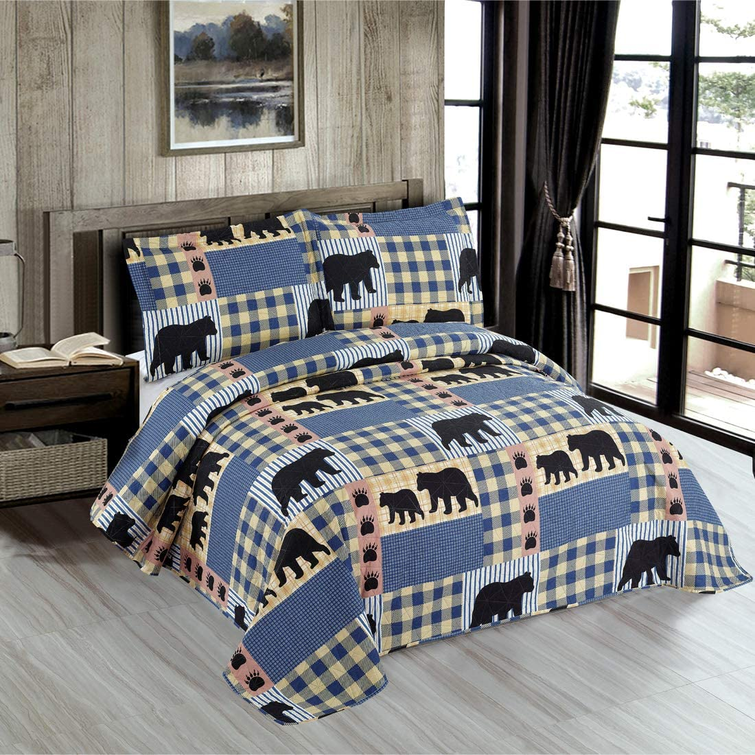 Oliven Lodge Bear Bedding Quilt Full/Queen Size Blue White Plaid Bedspread Set Rustic Quilts Forest Bear Blanket Cabin Coverlet Summer Lightweight Bear Daybed Cover Woodland Home Decor