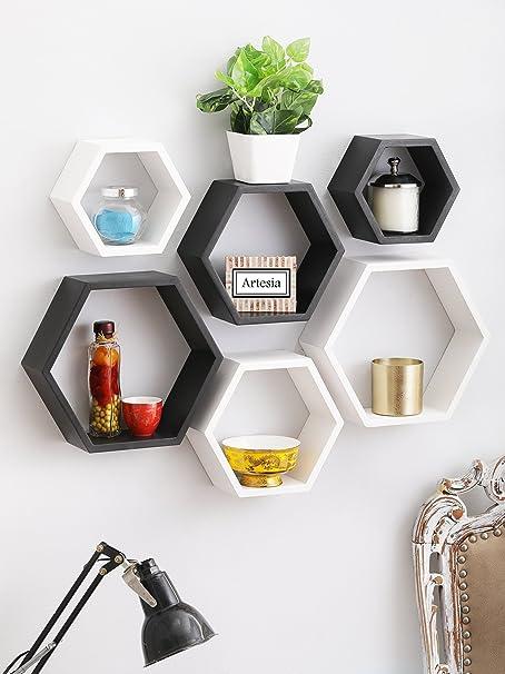 Artesia Wooden Stylish Decorative Hexagon Shape Wall Shelf Set of 6