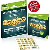 WhatsApp SIM Prepaid [SIM, Micro-SIM, Nano-SIM] - Starterpaket mit 15 EUR Guthabenwert, ohne Vertragsbindung, Option mit 2000 Einheiten für MB/MIN/SMS + EU inklusive, jederzeit kündbar, Surf-Geschwindigkeit: 21,6 MBit/s LTE