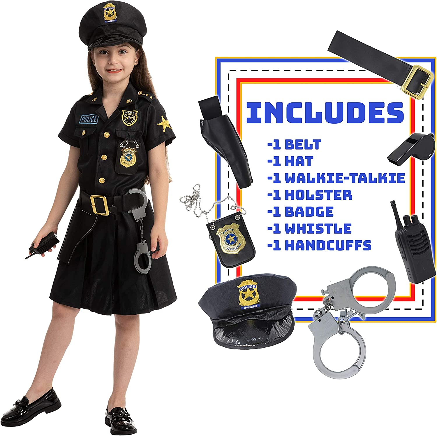 Police Officer Girl Cop Costume Outfit Set for Halloween Dress Up Party, Role-Playing, Carnival Cosplay, Themed Parties