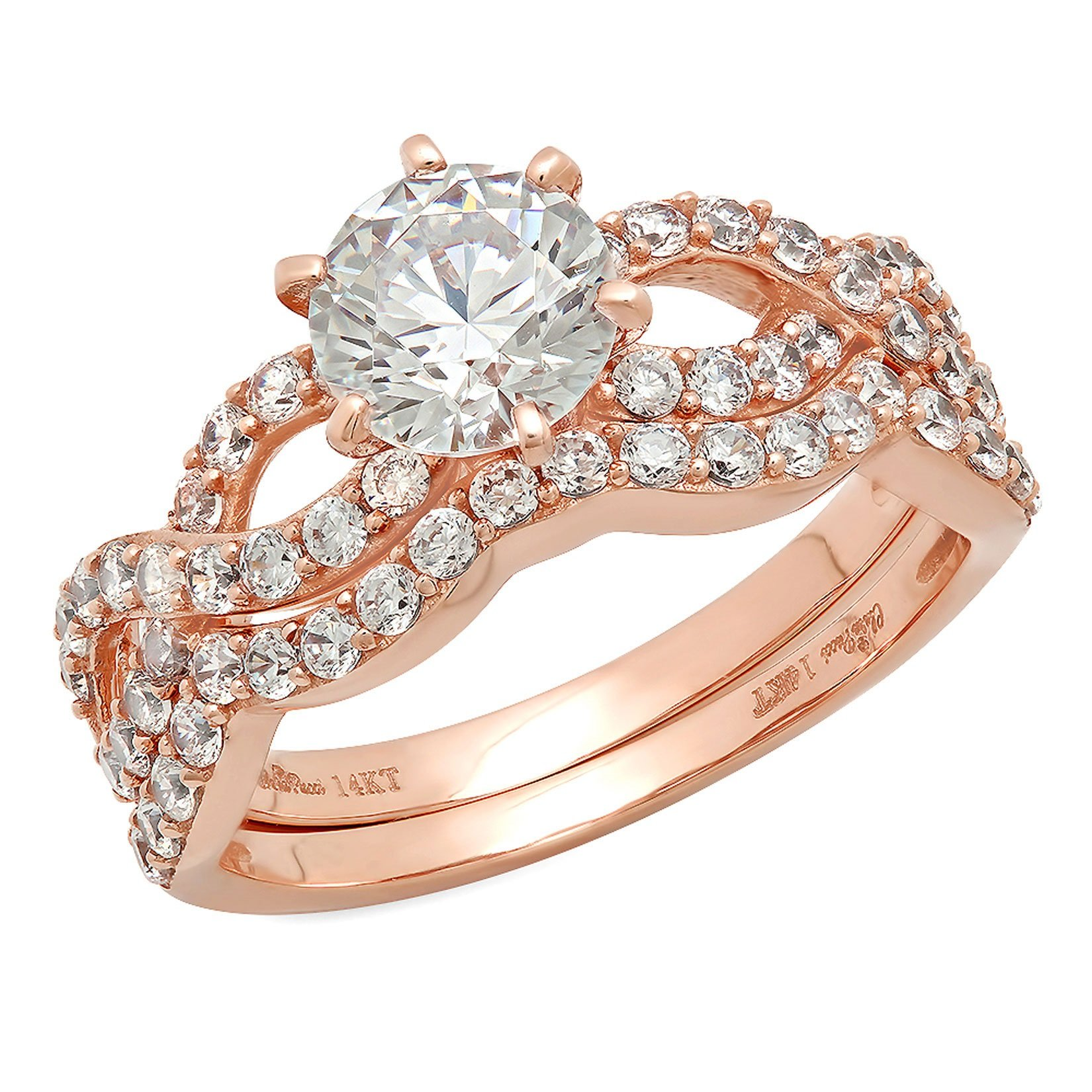 1.7 Ct Round Cut Pave Halo Engagement Wedding Bridal Anniversary Ring Band Set 14K Rose Gold, Size 9.25, Clara Pucci