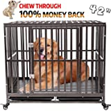 Gelinzon Heavy Duty Dog Cage Crate Kennel Roof Strong Metal for Large Dogs, Easy to Assemble Pet Playpen with Four…