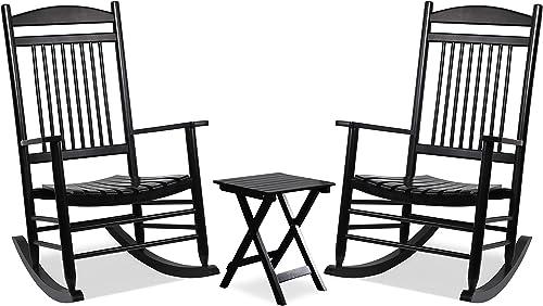 MUPATER Outdoor Rocking Chair Set 3-Piece Patio Wooden Rocker Bistro Set Review