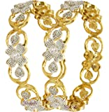 YouBella Jewellery Traditional American Diamond Wedding Party Wear Gold Plated Bracelet Bangle Set for Girls and Women