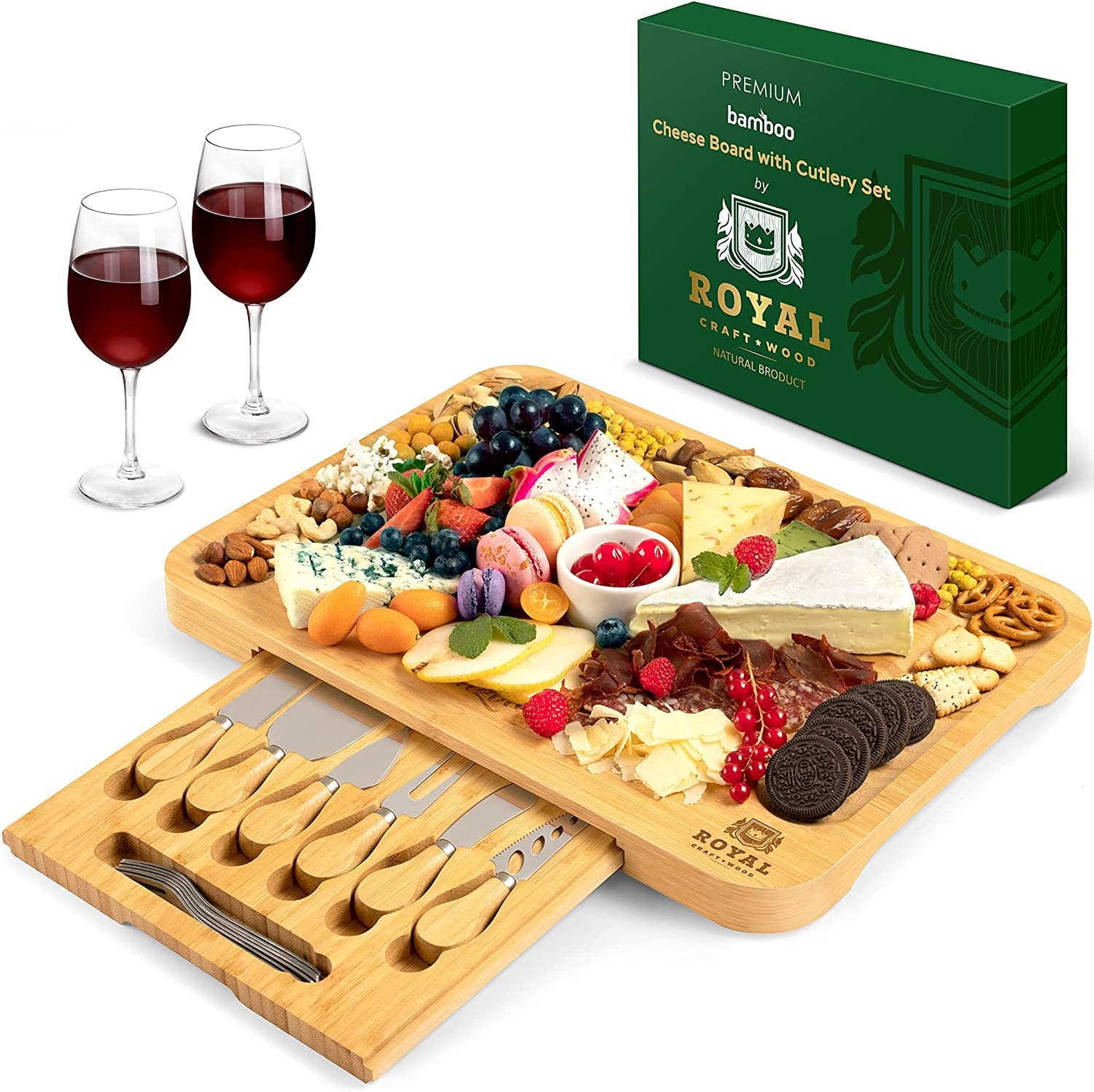 Bamboo Cheese Board and Knife Set - Wooden Charcuterie Platter & Serving Tray with Cutlery (17.5