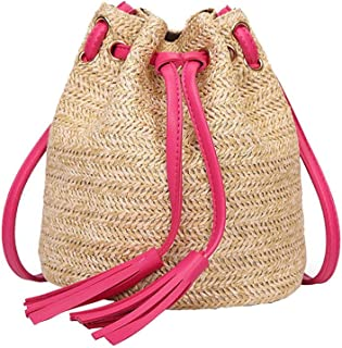 TOOGOO Borse a tracolla da spiaggia in tessuto da donna con borse a tracolla con nappe Borsa a tracolla tessute da donna borsa da spiaggia in maglia a tessitura di denaro (rosa rossa)