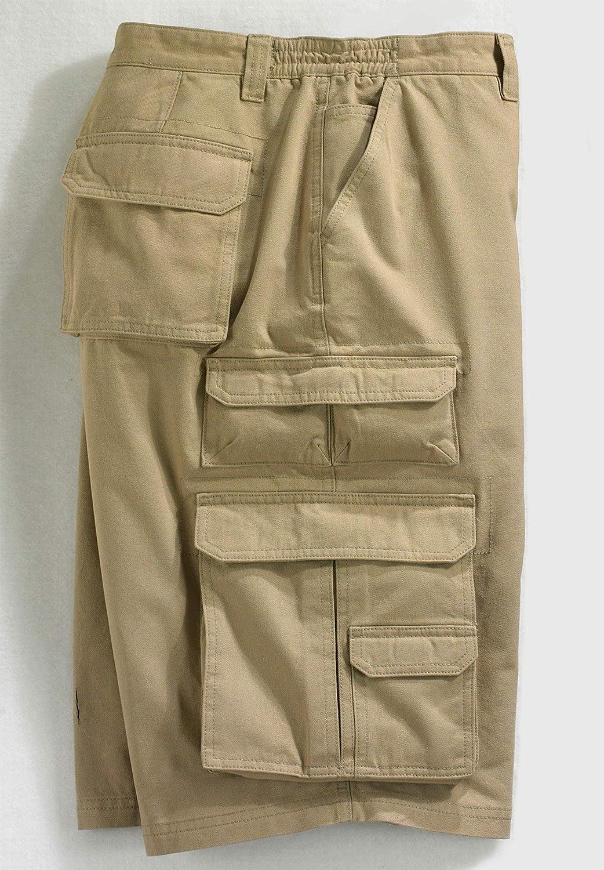 Boulder Creek Mens Big /& Tall Side-Elastic Twill Cargo Shorts