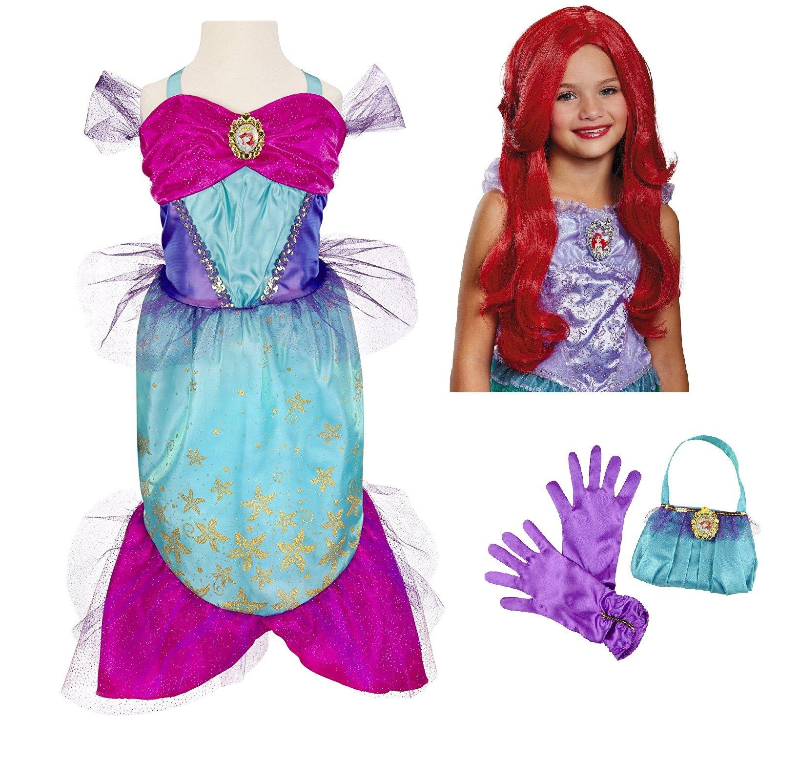 Disney Princess Ariel Little Mermaid Costume - Dress, Wig, Purse, Gloves Teal