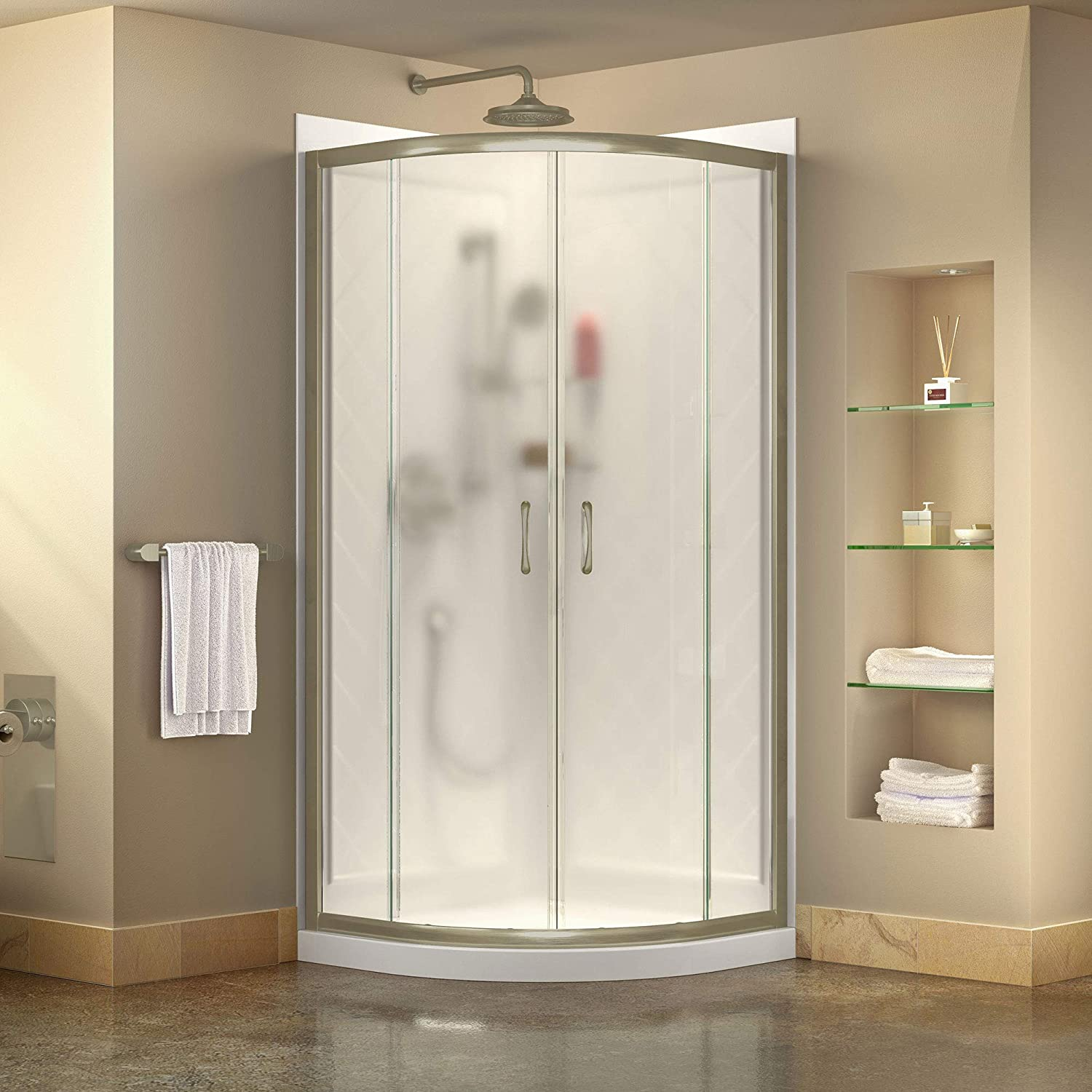 DreamLine Prime 33 in. x 76 3 4 in. Semi-Frameless Frosted Glass Sliding Shower Enclosure in Brushed Nickel with Base and Backwall