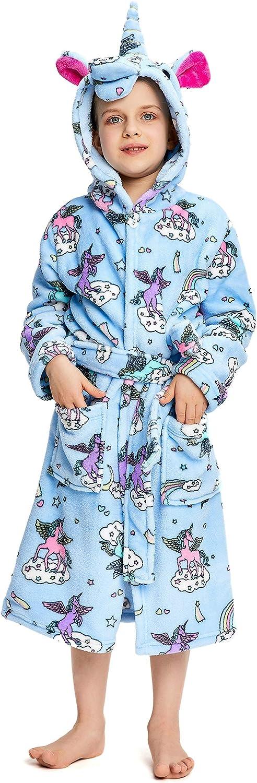 NEWCOSPLAY Soft Unicorn Hooded Bathrobe Sleepwear for Girls