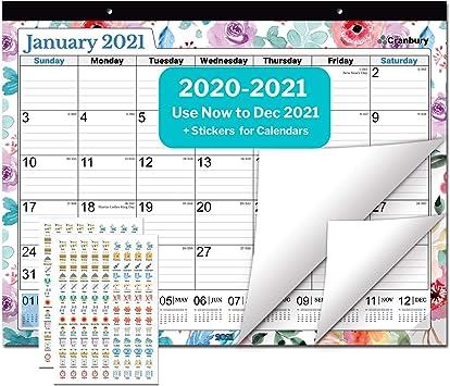 Amazon Com Cranbury Deskpad Calendar 2020 2021 22x17 Floral Large Desk Calendar Or Wall Calendar Use To December 2021 2021 Calendar Or Academic Year 2020 2021 Desk Pad Calendar Includes Planner Stickers