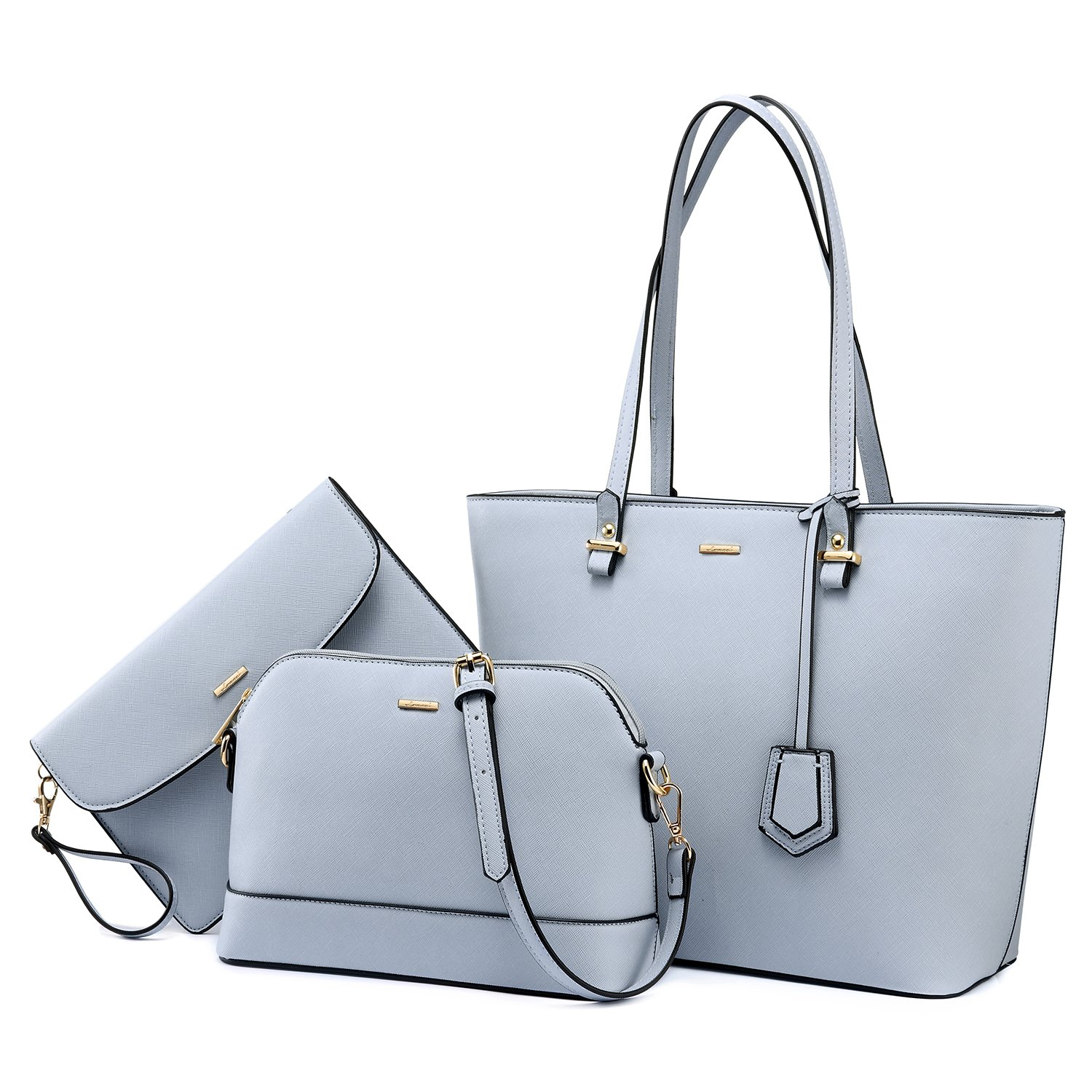 Handbags for Women Tote Bag Shoulder Bags Fashion Satchel Top Handle Structured Purse Set Designer Purses 3PCS PU Stand Gift Light Blue by LOVEVOOK