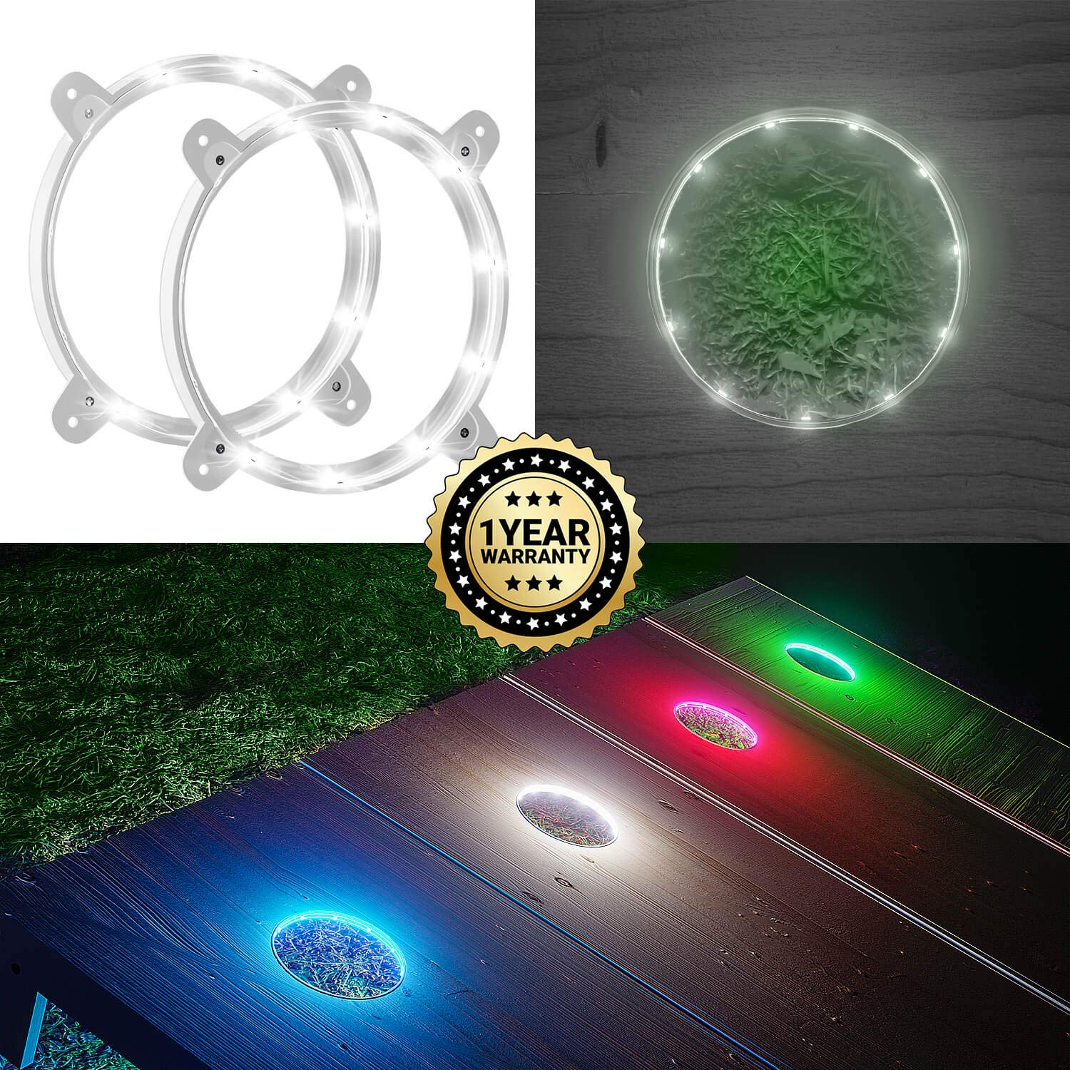 Cornhole LED Board Lights so You Can Play at Night! (set of 2) -Choose from White or Blue- Quality Construction, 1 Year Replacement Warranty! (White)