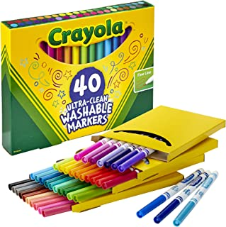 product image for Crayola Ultra Clean Washable Markers, Fine Line Marker Set, Gift for Kids, 40 Count