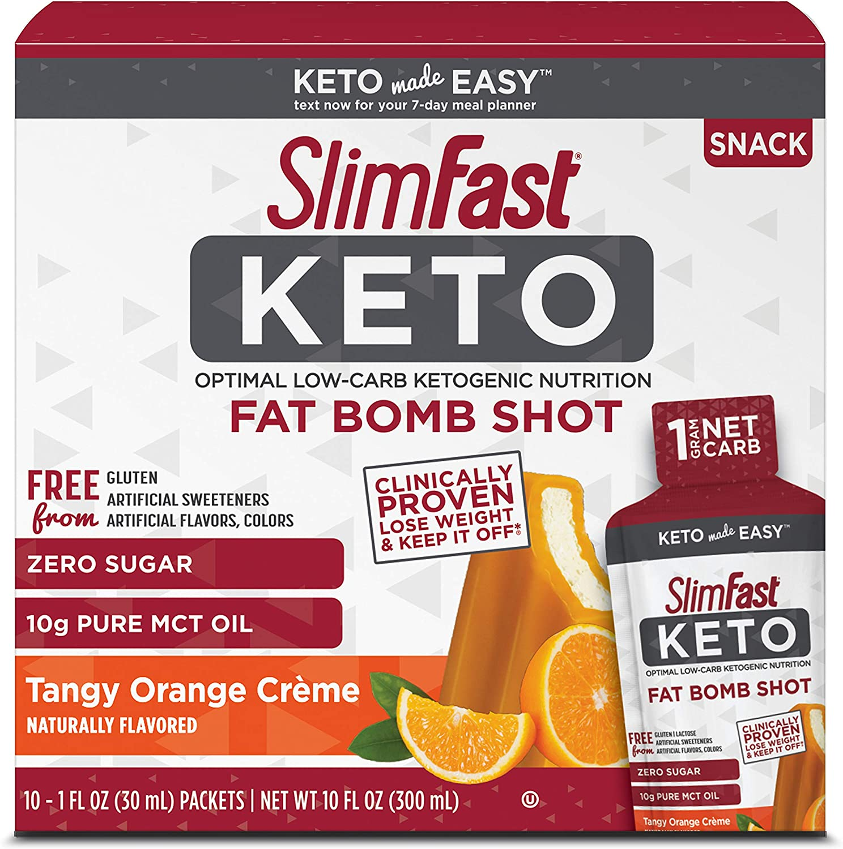 SlimFast Keto Fat Bomb Shot - Tangy Orange Crème - 10 Fl Oz - 10 Count - Pantry Friendly
