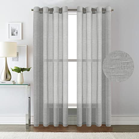 H.Versailtex Elegant Natural Linen Sheer Curtains For Bedroom,Privacy  Protection Nickel Grommet Window
