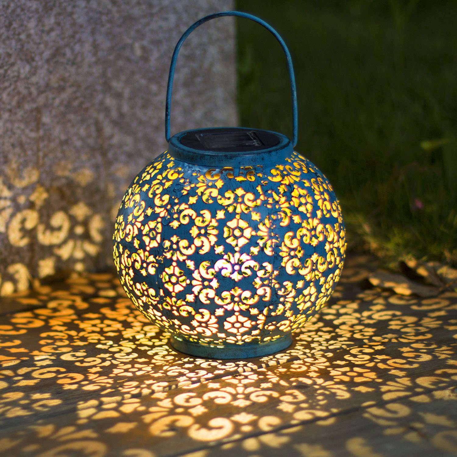 Solar Lantern Hanging Garden Outdoor Lights Metal Waterproof LED Table Lamp Decorative by Homeimpro