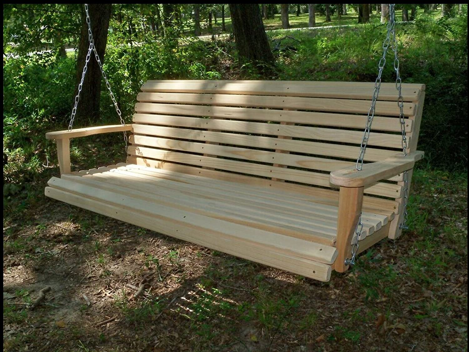 Amazon.com : 5 Ft ROLL BACK PORCH SWING Made From Rot Resistant Select  Louisiana Cypress Eternal Wood Made In The USA   Green Furniture   GO GREEN  : Garden ...