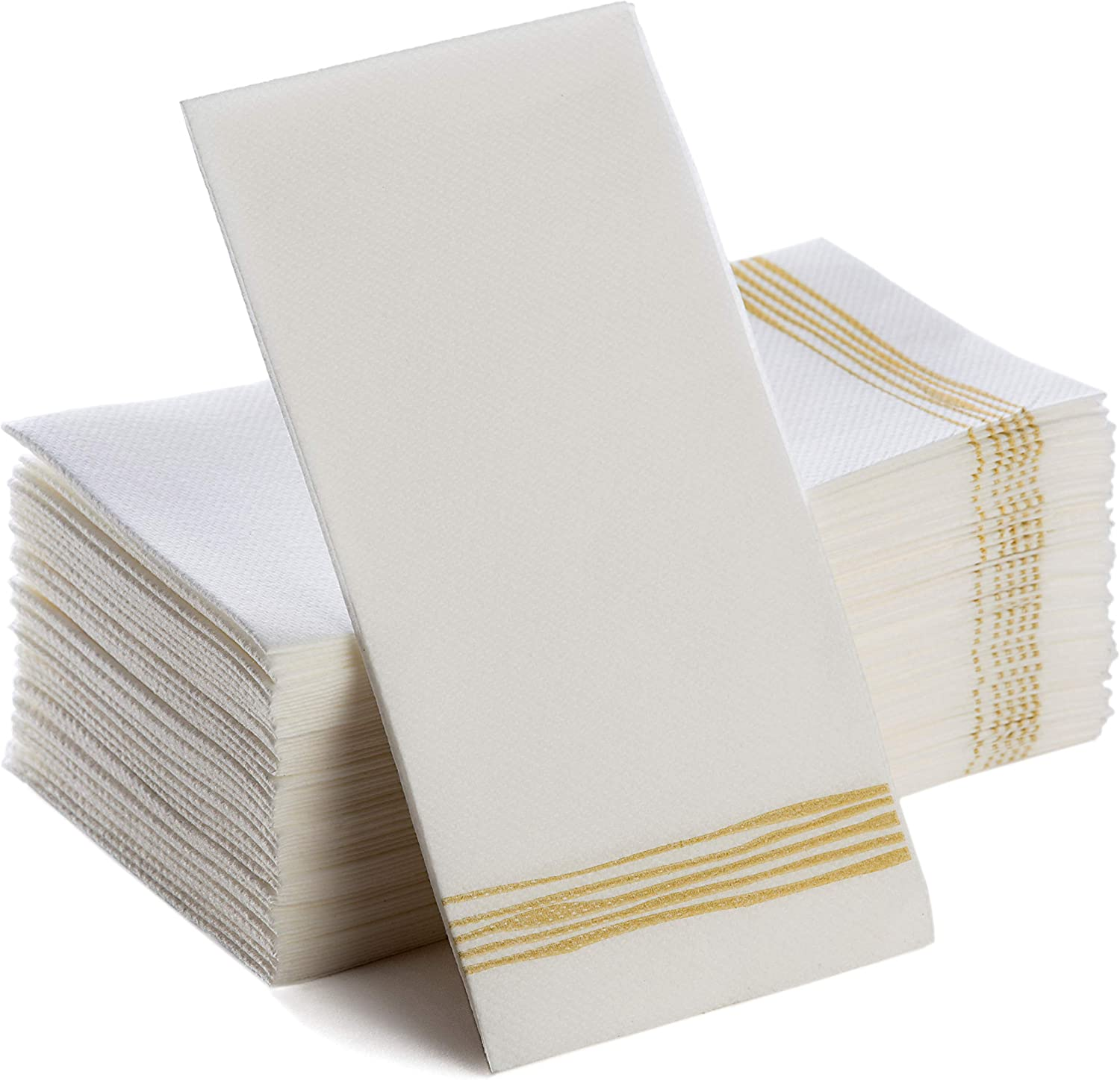 Disposable Hand Towels | Decorative Linen-Feel Paper Napkins | Soft, Absorbent Disposable Paper Guest Towels for Kitchen, Bathroom, Parties, Weddings, Dinners Or Events White and Gold Napkins 100 Pack