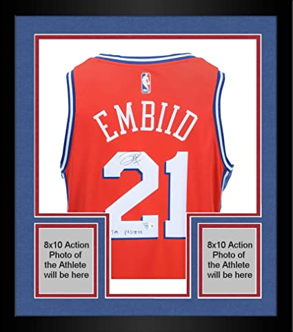 c62bd7310c2 Framed Joel Embiid Philadelphia 76ers Autographed Red Statement Nike  Swingman Jersey with quot The Process quot