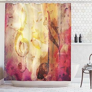 Abakuhaus Artsy Rideau de Douche, Moderne Salle de Classe Note de Musique  Jazz Musicien Symboles, Impression numérique sur Tissu, 175 x 200 cm, ...