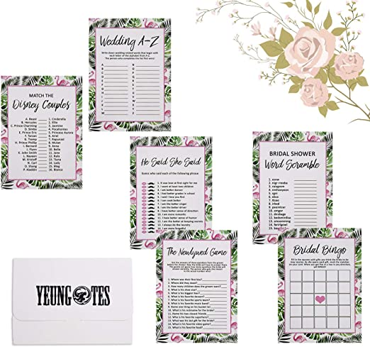 Amazon Com Bridal Shower Games For Guests 6 Design 30 Each Sheet Flamingo Games Bundle Set Include Bridal Shower Bingo He Said She Said And Also Perfect To Suit Guest S Bridal Shower Games