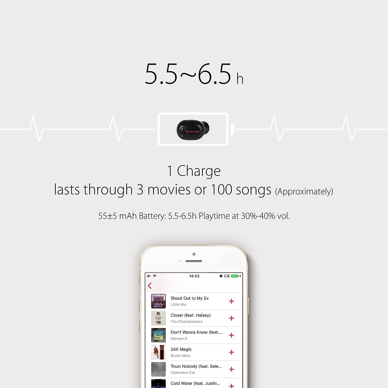 GoNovate, G10. Los auriculares Bluetooth inalámbricos más pequeños con 5,5 horas de tiempo de reproducción y micrófono para iPhone: Amazon.es: Electrónica