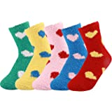 5 Pack Women Girls Fuzzy Fluffy Socks, Great for Holiday Winter or Christmas,Cabin Soft Warm Slipper Crew Cute Cozy…