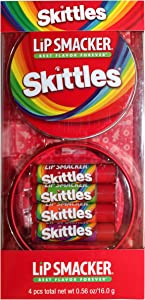 Lip Smackers (1) 4pc Lip Balm Tin Set Skittles Flavors - Strawberry, Green Apple, Mango Tangelo, Berry Punch - Holiday Edition - Red Round Tin with Skittles Logo and Rainbow Design - Net Wt. 0.56 oz