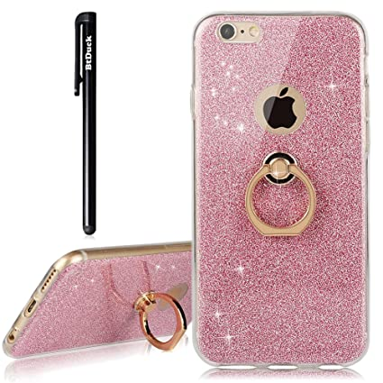 cheap for discount 89105 4e9e3 BtDuck iPhone 6 iPhone 6S Case Glitter Soft TPU Silicone Case Finger Grip  Ring Stand Holder Phone Protector Shiny Bling Case Clear View Crystal Cover  ...