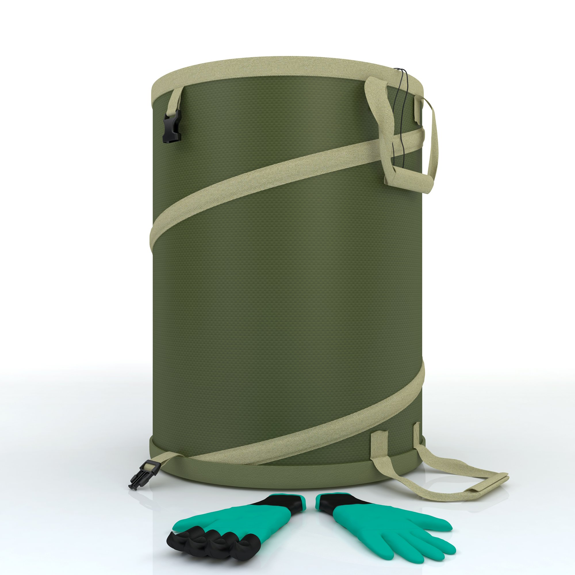 Garden Bag - Large Heavy Duty Canvas Reusable Yard Bags Great for the Trash Waste Laundry Compost Refuse and Tool Utility Collapsible Storage Comes Complete With Modern Gardening Gloves