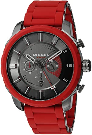 Amazon.com: Diesel Mens DZ4384 Stronghold Red Silicone Wrap Watch: Watches