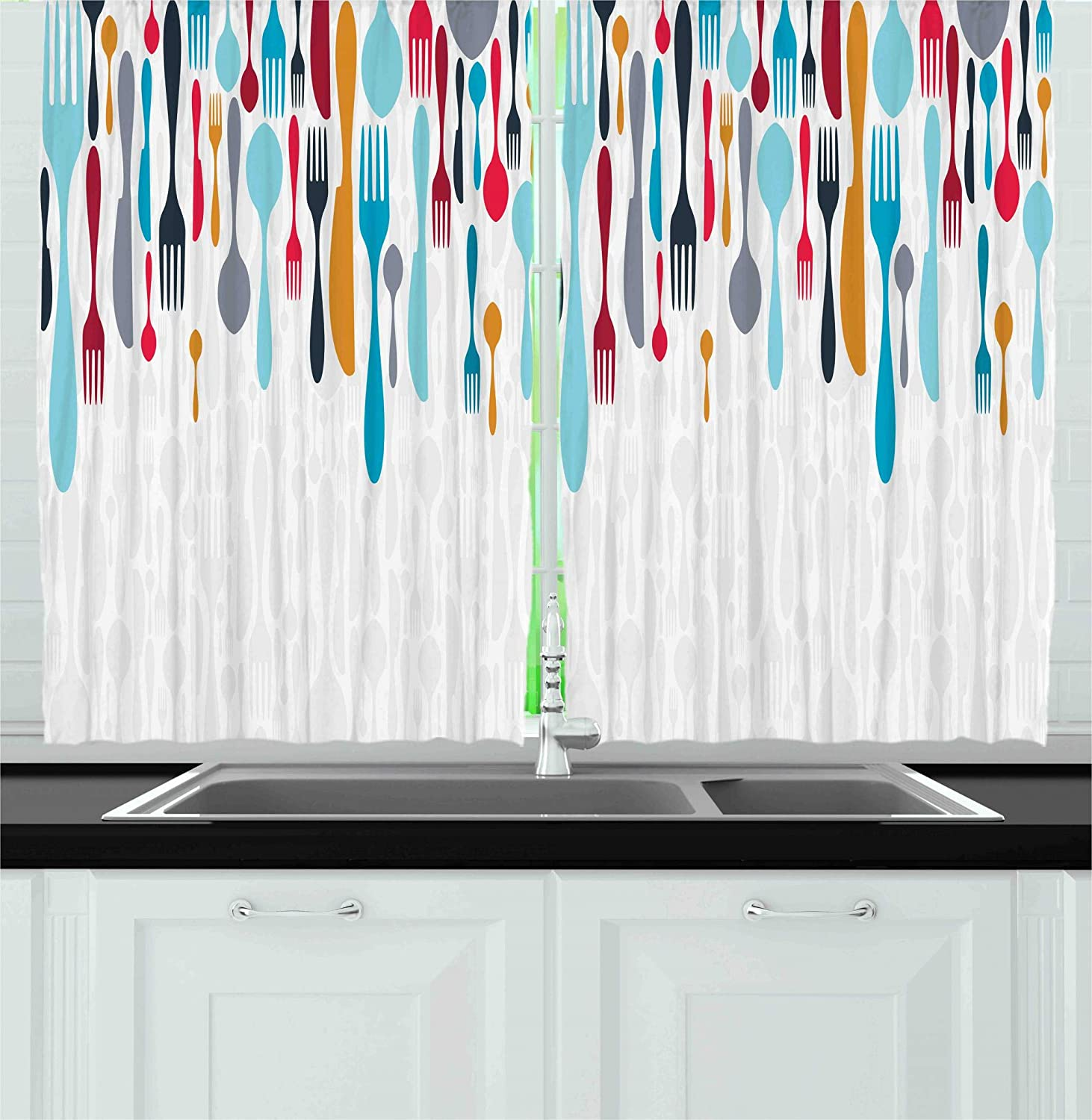 Ambesonne Kitchen Decor Collection, Multicolored Cutlery Background Layered Bistro Cafe Dining Gourmet Knife Fork Spoon 2 Panel Curtain, 55x39-Inches, Blue, White and Red