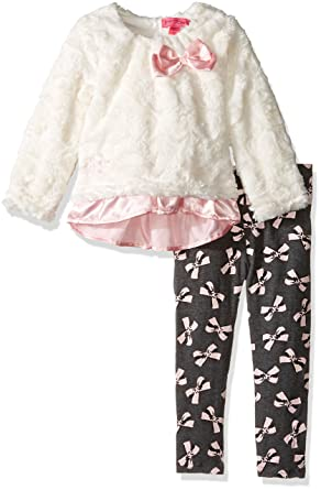 3a4125f6ee619e Amazon.com  Betsey Johnson Little Girls  2 Piece Bow Print Legging ...